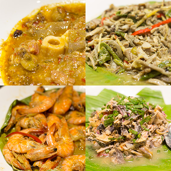 Clockwise from upper right: paklay, banana heart salad, shrimp hilabos and balbacua