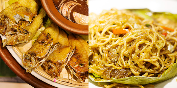 Left, labtingaw (fish dried for 1 day only) perfectly paired with vinegar, right, bam-i combination of glass and egg noodles stir fried with vegetables and pieces of meat