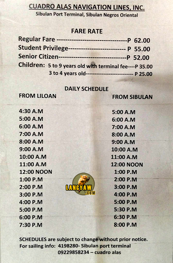 Sibulan - Santander fastcraft schedule