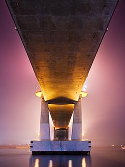 Underbelly of Marcelo Fernan Bridge as seen from a small park below it