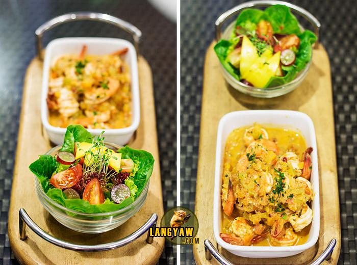 Garlic and herbed shrimps sambuca with fresh salad