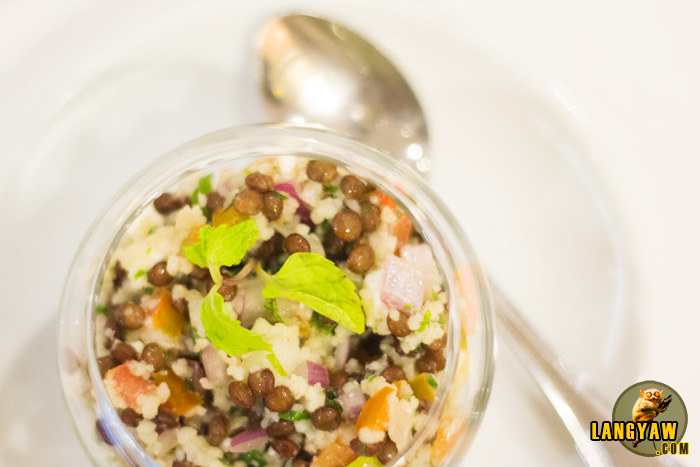 Lentil couscous salad with Malagos feta cheese