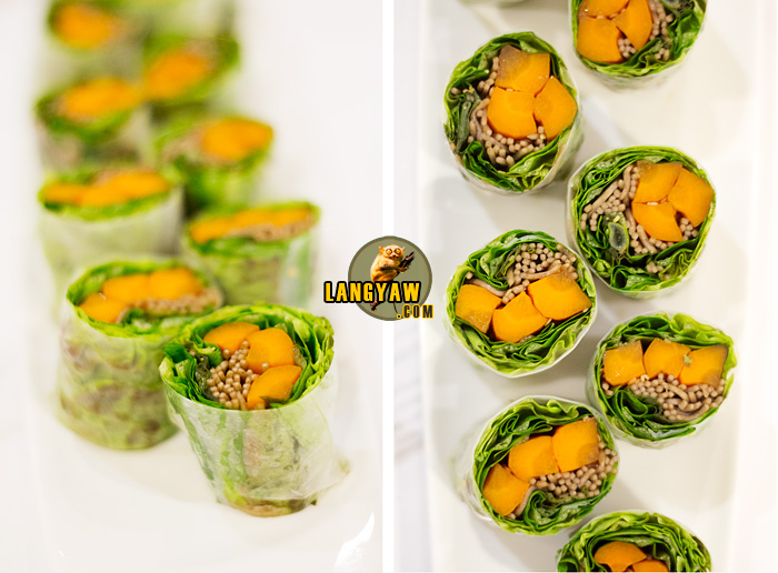 Left and right, top view: Roasted carrot rice paper rolls