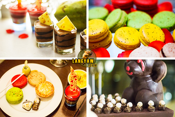 Clockwise from top right: various macarons in different flavors; caramel banana truffles with a 1.25 kilogram chocolate bear; my plate of desserts and sweets, chocolate mousse