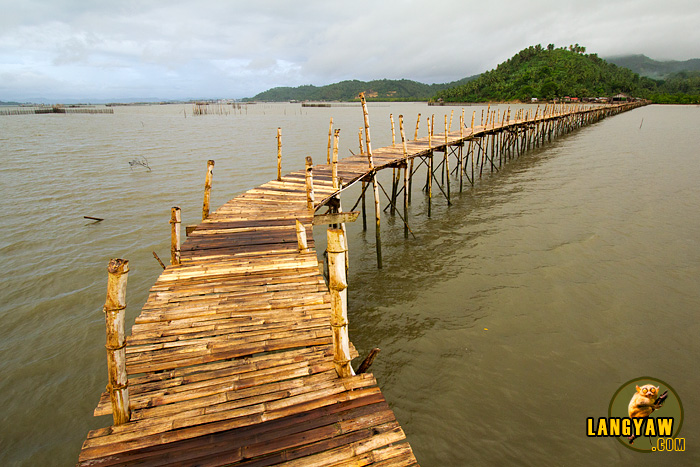 The 1.3 kilometer stretch of bamboo footbridge that connects the Barangays of Pawa and Mabunga over the sea