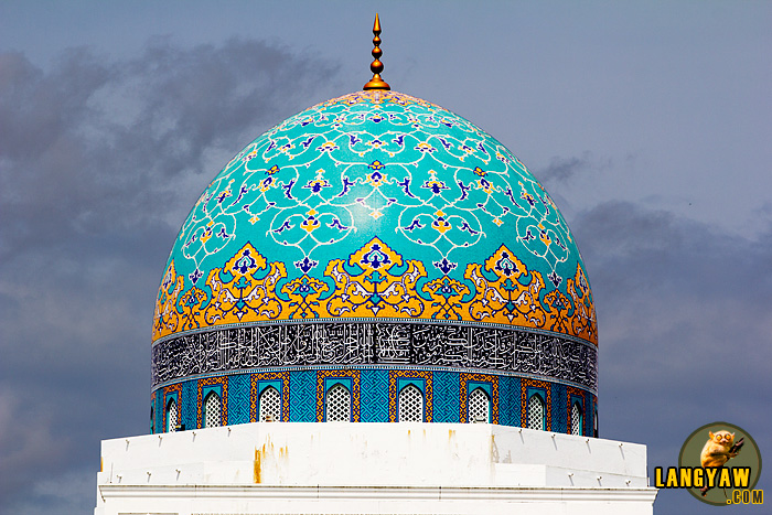 The beautiful dome of Masjid Albukhary said to be decorated with lapis lazuli by craftsmen from a former Soviet Union state