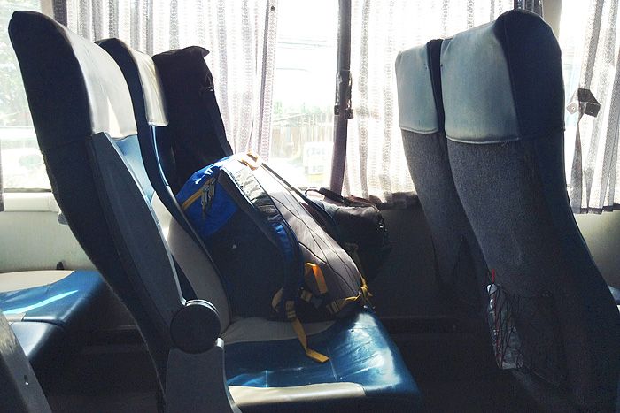 My backpack, tripod and camera bag on the seat of this airconditioned bus bound for Cagayan de Oro