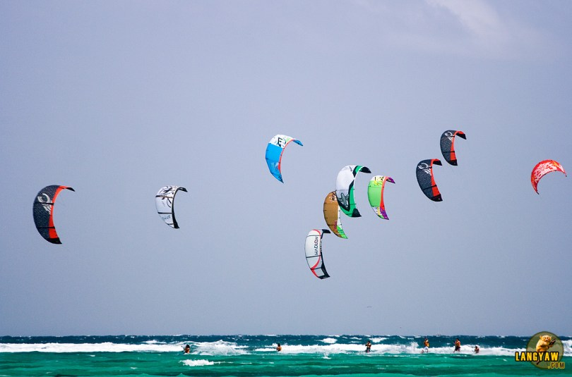 Kiteboarders competing during the Boracay International Funboard Cup