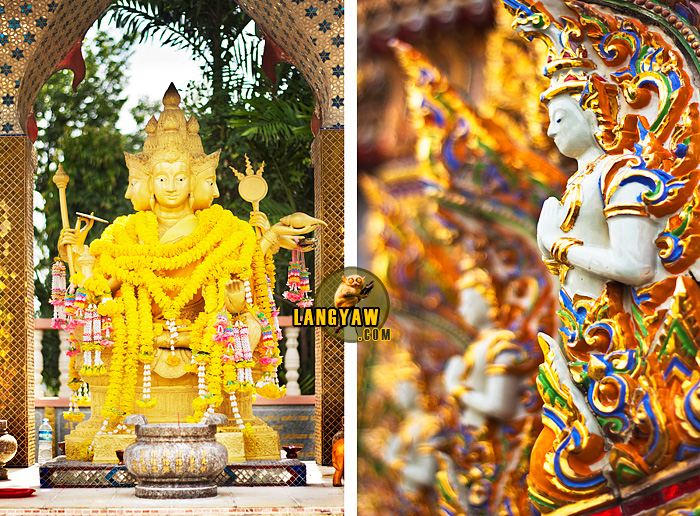 Left, image of the Buddha; right, detail of a naga in one of the stupa