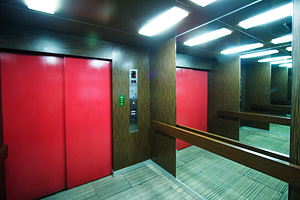 The very spacious elevator