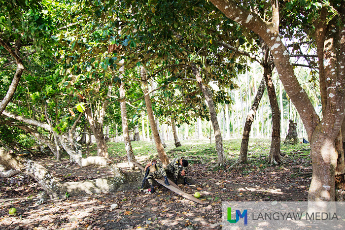 Military personnel resting under the shade of trees