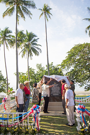 The historical marker that recognizes the efforts of the people of this barangay in Sindangan in helping American POWs is commemorated