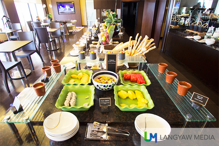 The afternoon snack buffet spread