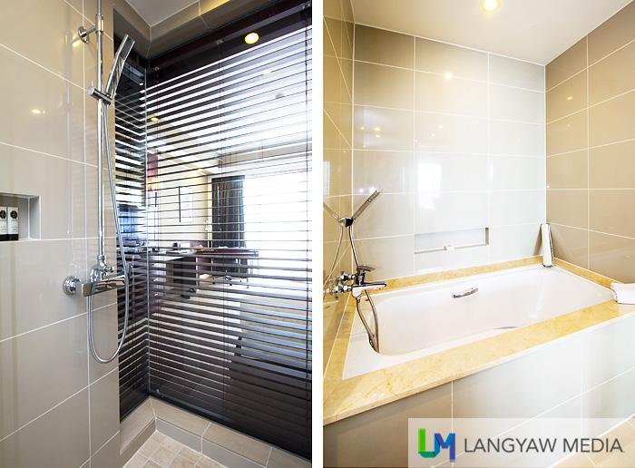 Shower with view of the room and bathtub