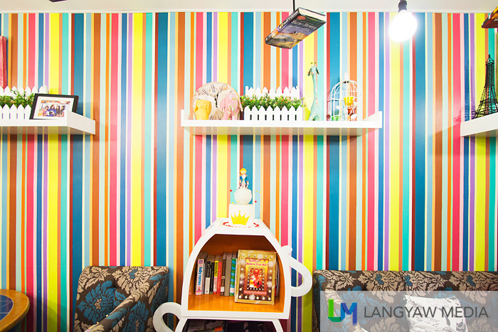 Multicolored wall with a theme based on The Little Prince