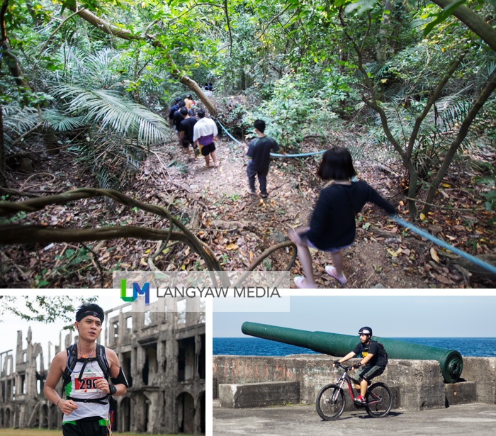 Hiking and adventure: clockwise from top: hiking, cycling and running