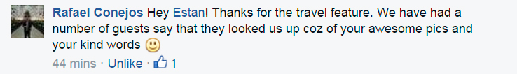 Comment from the owner of the Alcoves