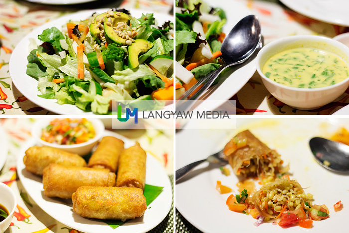 Clockwise from top left: fruit and vegetable salad, tofu and mint dressing for the salad, inside the vegetarian spring rolls, spring rolls as served