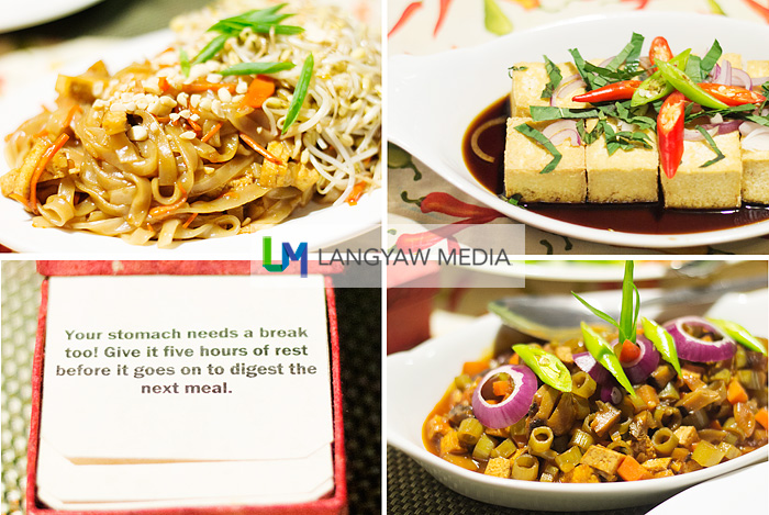 Clockwise from top left: vegetarian pad thai, tokwa and tokwa (tofu), vegetarian bopis and a note from a deck of cards