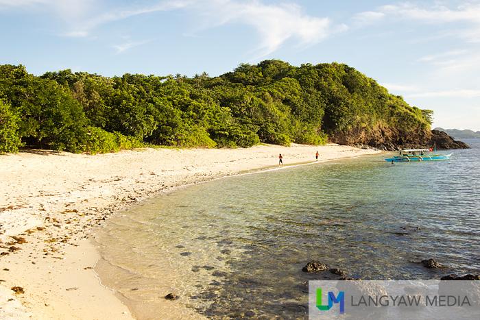 White sand beach of the island