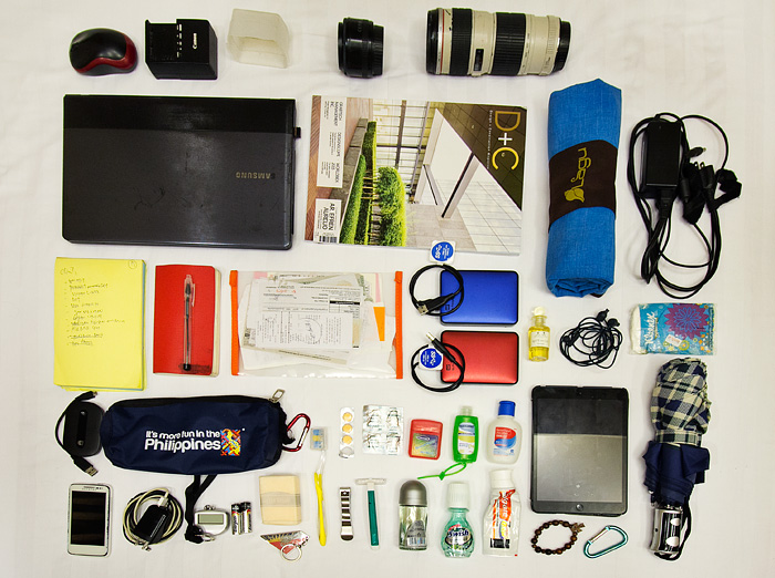 What goes into my bag and camera gear when traveling?