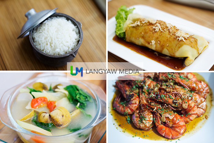 Sands Restaurant is known for its good Filipino cuisine. clockwise from top right: Lumpiang sariwa; grilled prawns in spicy toyomansi and lemon butter; tinolang halaan, local clams in ginger, lemongrass and tomato broth; and a small cup sized rice served in this beautiful mini metal cooking vessel