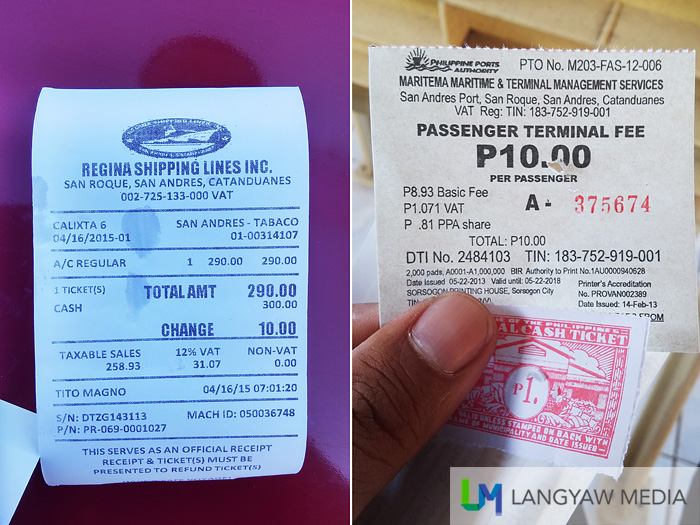 Ticket fare: P290 for airconditioned area, P10 for terminal fee, P1 for municipal tax