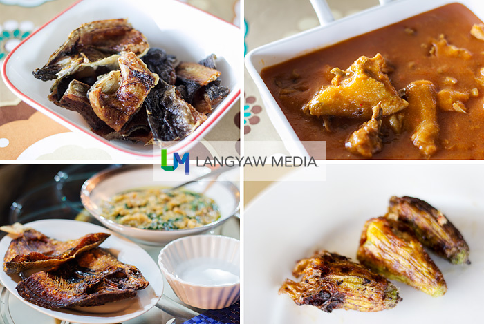 Clockwise from top right: pinipiyan (native chicken in sauce thickened with ground rice and colored with achuete), ground meat stuffed squash blossoms, daing na bangus and mung bean soup and fried dried fresh water fish