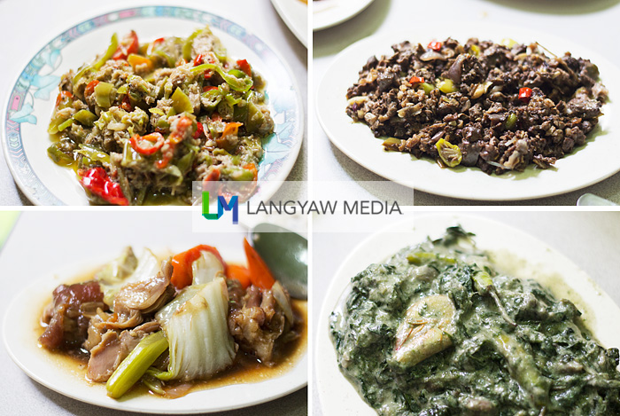 Clockwise from top right: bopis, laing, meat and vegetable dish, bicol express