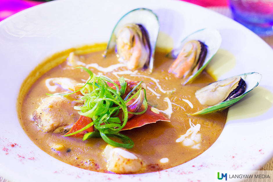 Seafood Gumbo Soup: hearty and delicious seafood soup with fish, crab claw, mussel and very tender squid. It has a dash of paprika for 'heat.'