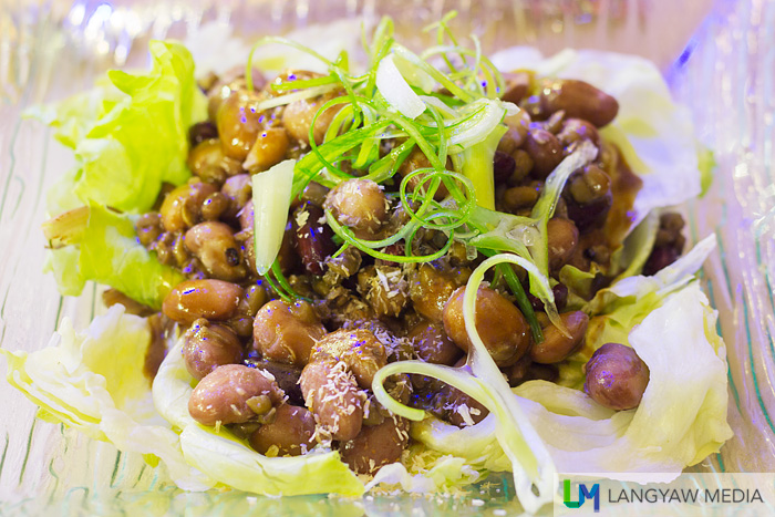 There are three kinds of beans in this salad: mung, kidney and borloti. Sun dried tomatoes and vinaigrette completes the dish.