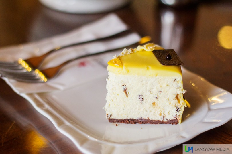 Chilled Cheesecake with Rum Raisins is Marco Polo Cebu's Cake of the Month is light, creamy and smooth