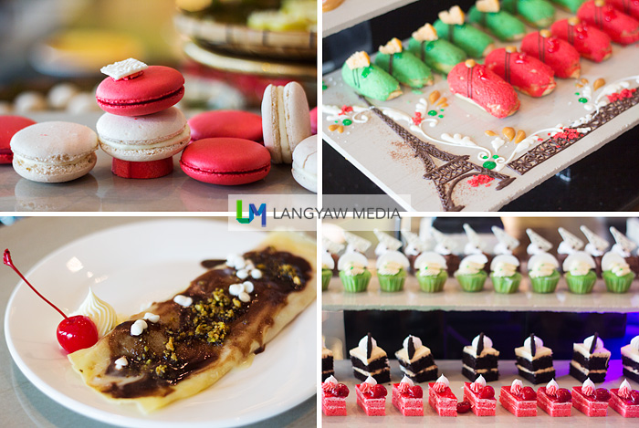 Eclair, macarons, crepe and tasty bite sized cakes
