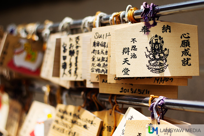 Are these prayer cards used as supplications? Bentendo Temple is dedicated to Benzaiten who is the goddess of wisdom, arts and knowledge and is popular with devotees who visit the temple for success in examination and good fortune.