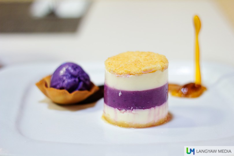 Ube kinampay with a scoop of ube ice cream
