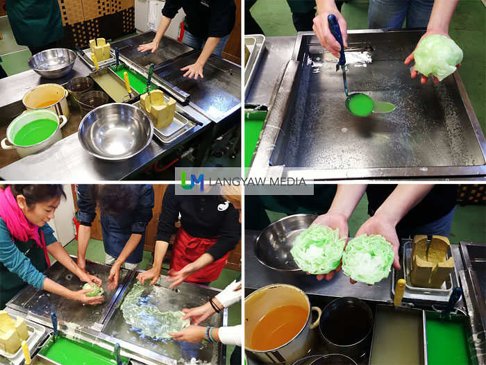 Stages of how fake lettuce is produced: melted wax is poured into the basin with water, stretching the wax to make sheets, crumpling it into a ball then slicing it with a hot knife