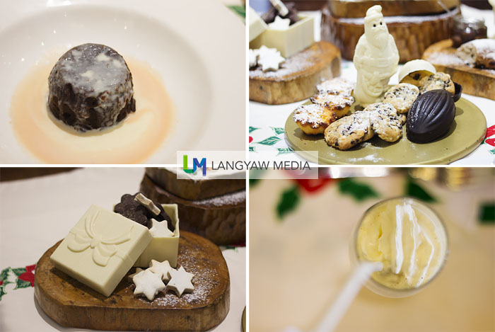 Clockwise from top right: trio of chocolate Santa, malicious cookies and torta Argao; delicious eggnog, festiv cookies and a choco dessert with cream