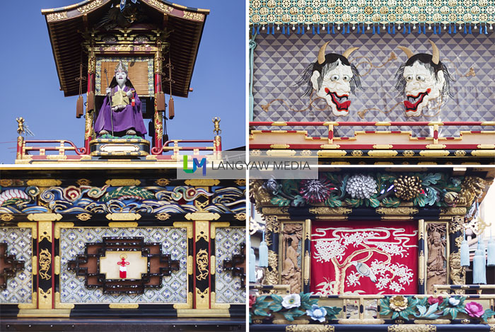 Details of different yatai, clockwise from top right: side of Jimmatai, Kaguratai front, lower side of Jimmatai and an effigy atop the Gyojintai