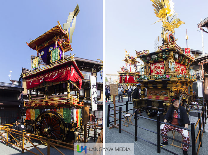 The Daihachitai (left) and Kaguratai (right), two of eleven yatai in Takayama that are specific to the Autumn Festival. Takayama is divided into areas and each areas have their own yatai. These are considered by the Japanese government as tangible cultural/folklore assets. Because of the importance and delicate nature of these antique assets, these yatai are only paraded once a year during this festival and when it rains, the procession is cancelled. A separate group of yatai goes out during the Spring Festival that is held every April 14 and 15.
