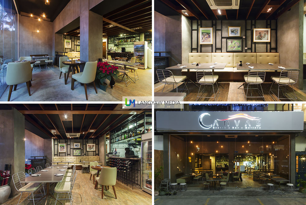 Interior and facade of Canvas Bistro at their new location in Paseo Saturnino