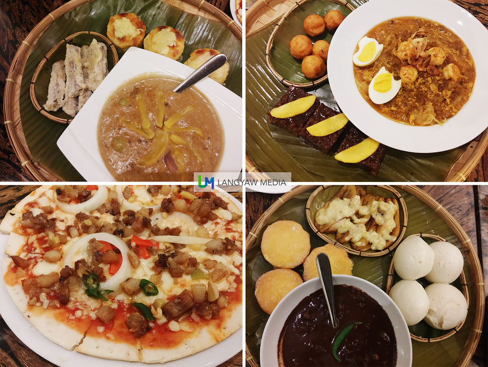 Merienda or snack time is definitely something to look forward to. These merienda sets are Filipino favorites like, clockwise from top right: pansit palabok with camote balls and biko (rice cake); dinuguan with puto and torta with fried bananas; make-your-own-pizza and binignit with cassava cake (really good!) and banana fritters