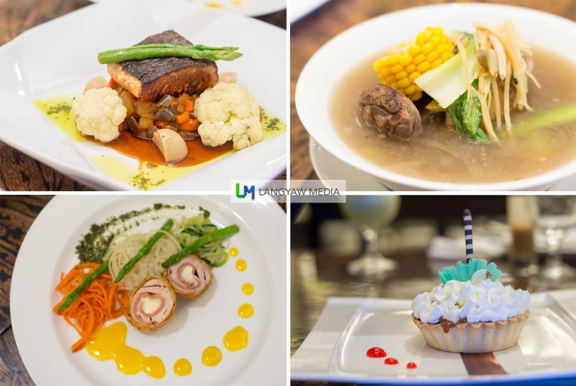 Ala carte dishes including some Chef's Specials, clockwise from top right: Cebuano pochero, traditional Cebuano clear ginger soup of beef shank, sweet corn, bamboo shoot and native pechay. While the soup is good, the beef is unfortunately tough; bananalicious pie, buttery crust filled with vanilla cream and chunks of bananas drizzled with chocolate and caramel syrup and topped with whipped cream; Sarimanok, chicken breast rolled and stuffed with ham and queseo served with spaghetti of vegetables and mango sauce; and Salmon Teriyaki, marinated in honey-teriyaki glaze and served with Japanese spring vegetable ragout