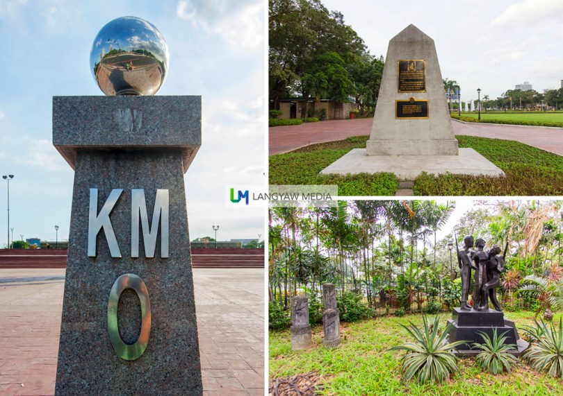 Clockwise from top right: The GomBurZa marker where the three priests were martyred; artworks in one of the gardens and Kilometer 0 where all kilometer distances across the country starts