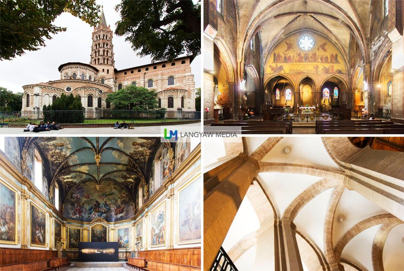 Top left and top right: exterior and interior Basilica of St. Sernin built between 1080-1120 and is considered the biggest Romanesque building. It is also listed as UNESCO World Heritage as part of the Routes of the Santiago de Compostela. Lower left, interior of the Chapelle des Carmélites built in 1622 and has paintings done by Jean-Pierre and Jean-Baptiste Despax; lower right, vaulting at the Eglise de St. Aubin