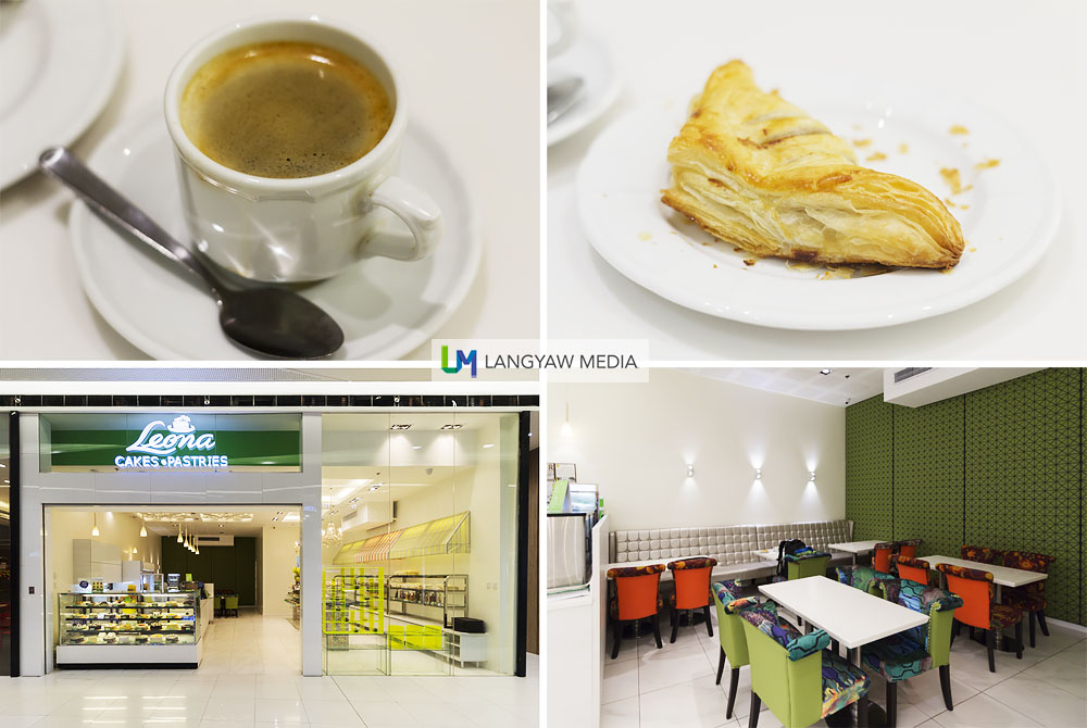 Clockwise from top left: A good cup of coffee for just P40, oh so flaky tuna turnover, bottom right and left, the new branch at SM Seaside City Cebu