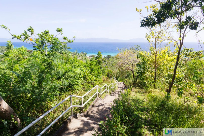 Scenic view of the sea from atop the mountain via a hundred steps