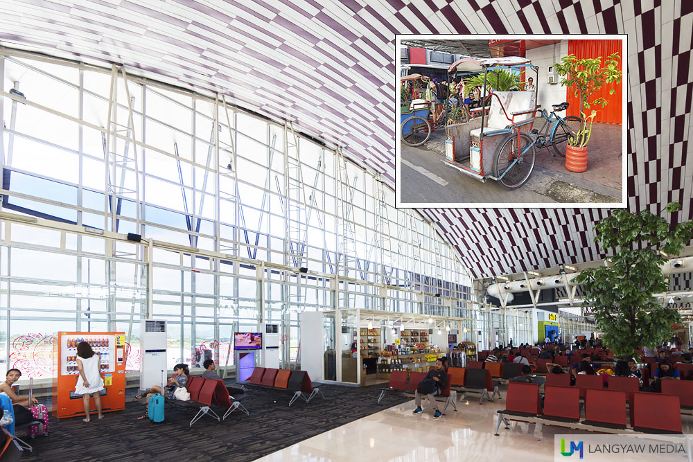 The beautiful terminal of Hasanuddin Airport. Inset, local pedicab called becak