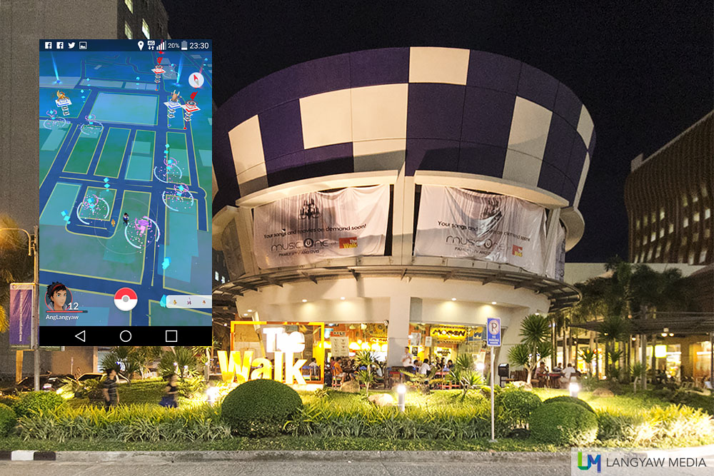 The Walk at IT Park is a popular hangout area. Inset: Screencap showing Pokestops in the vicinity as seen from Abuhan Tres