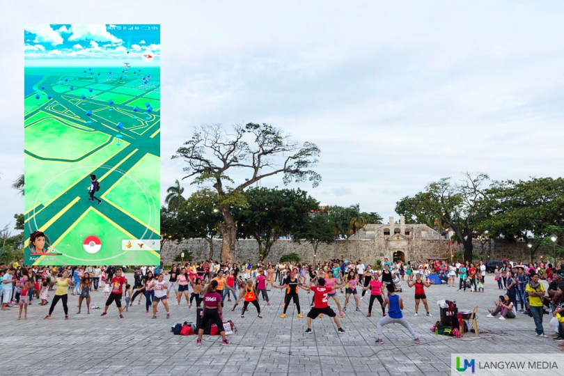 Plaza Independencia and Fort San Pedro. Sunday afternoon gets busy with zumba participants. Inset: Pokemon Go map of the area with corresponding Pokestops.