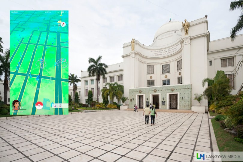 Cebu Capitol is an early 20th century structure. Inset: Screencap showing Pokestops in the vicinity as seen from Hotel Stella.
